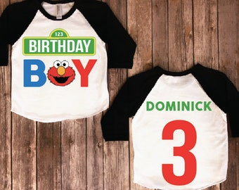 Elmo Birthday Shirt Baby Boy Party Theme Shirts Personalized FaceND