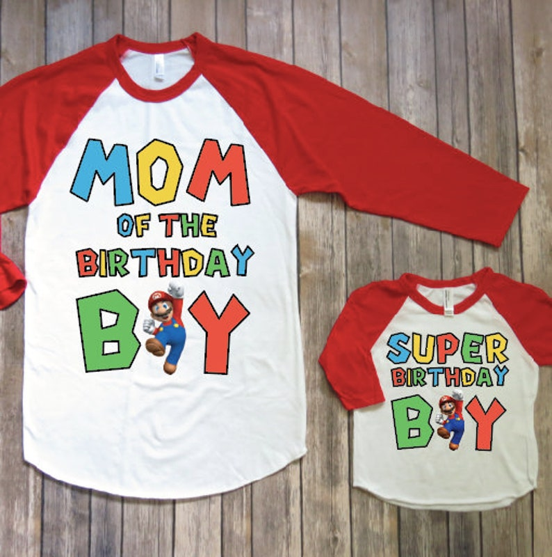 Mommy And Me Birthday Shirts Mario Shirt Super