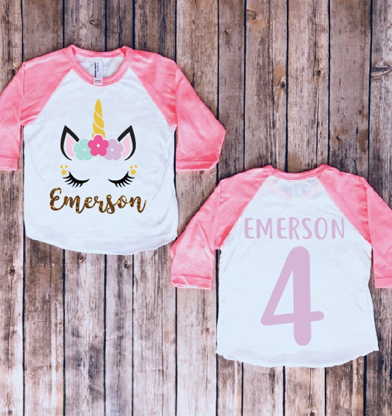 Birthday Girl Unicorn Shirt Party Matching Theme Birthdaycustom Raglan