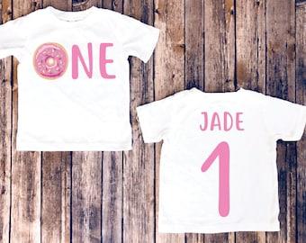 Donut birthday shirt, 1st birthday donut shirt,  first birthday shirt, donut birthday, donut party, birthday girl shirt, matching birthday