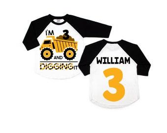 Construction birthday shirt, Construction birthday party, personalized construction shirt, birthday boy shirt, ANY AGE, I'm 3 and digging it