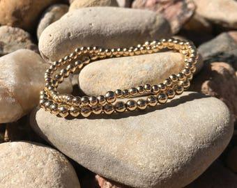 The Gold Set | 14k Gold Filled Beaded Stretch Bracelet Pair | Stack Bracelets | Set of 2 |