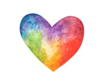 Watercolour Rainbow Love Heart Pride Print (A4, A5 and Greetings Card)