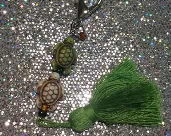 One Turtle, Two Turtle Green Keychain