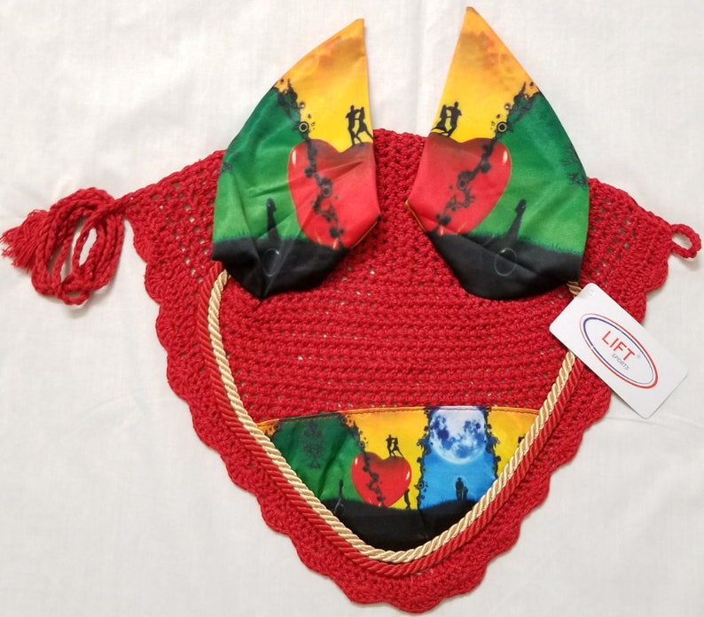 Love Heart Horse English Saddle Pad Set Matching Fly Bonnet Veil Ear Net Polyester Hand Made Cotton Tack Shows Romance