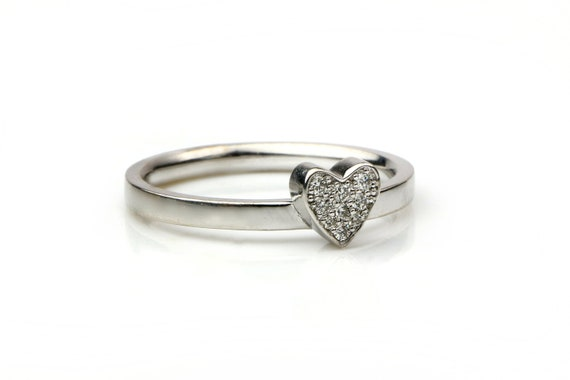 heart ring stackable rings black diamond ring Bow ring valentines day rose gold diamond ring