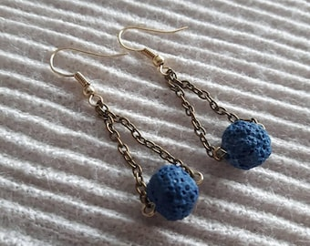 Antiqued brass chain and dyed blue lava stone beads chain drop loop aromatherapy diffuser  earrings