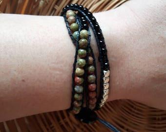 Unakite silver and black cotton cord adjustable 3 wrap bracelet