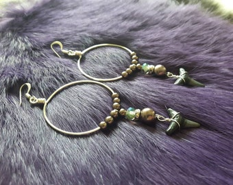 Silver plated wire handmade hoops with fossilized shark tooth mocha pearl and czech AB glass and rhinestone beads silver earrings