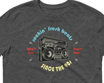 90s Hip Hop T Shirt, Gift for Old School Nineties Hip Hop Fan, Fresh Beats from the 90s, Hip Hop Beats