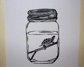 The Jar - turtle linocut print