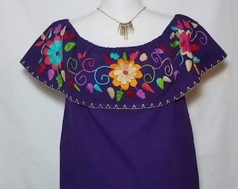 Embroidered Mexican Blouse Off Shoulder