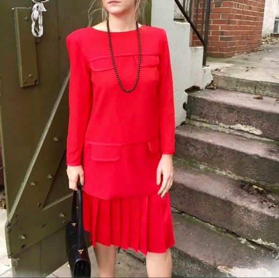 Arnold Scaasi Vintage 80s 90s Red Suit 2 Piece Set Designer Etsy