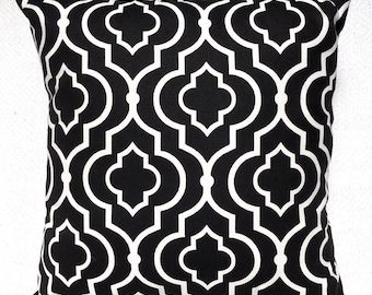 Black and White Trellis Pattern Throw Pillow