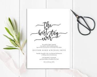 WI011 : Wedding Invitation Template, Invitation Set, Editable Wedding Invite,Vintage Wedding Invitation Printable