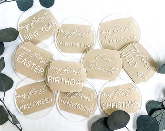 Acrylic Milestones Marker,Baby's First Holidays,Special Occasion Milestone Disc, Newborn Photo Prop,Baby ShowerGift, My First Christmas