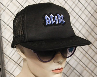 ac1ea848bb64a vintage snapback ACDC black hat - made in the 1980s New Old Stock H33
