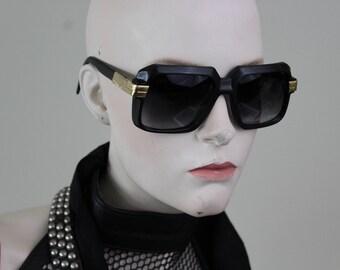 84944325ca1 vintage 1980s oversized frame black plastic and metal sunglasses Hip Hop -S2