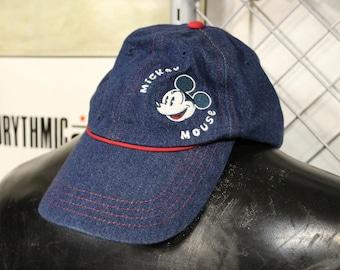 90s denim Mickey Mouse hat - Adult small medium - H50 5ef45b38e794