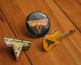765a20a29c6 Lot of 3 vintage enamel VAN HALEN 80 s rock pins DEADSTOCK pp-148