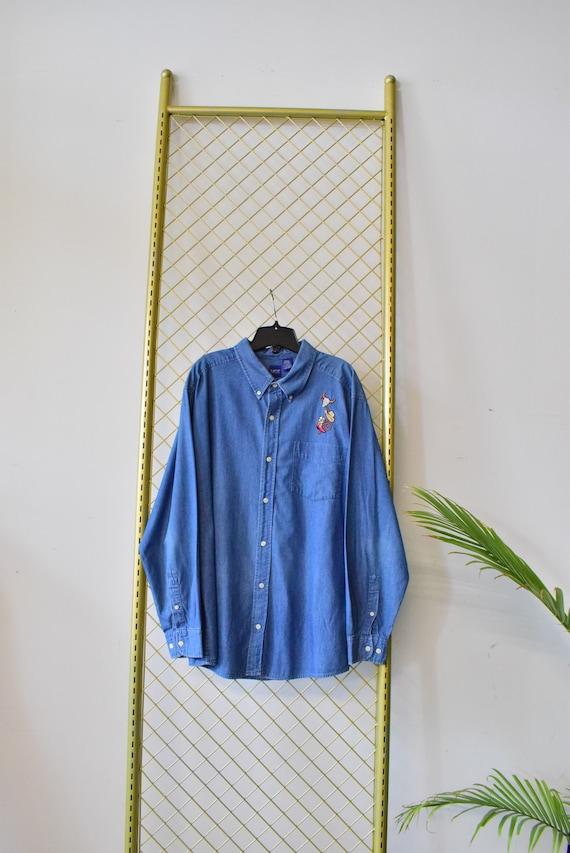 Vintage 1970's Embroidered Denim Shirt - Vintage W