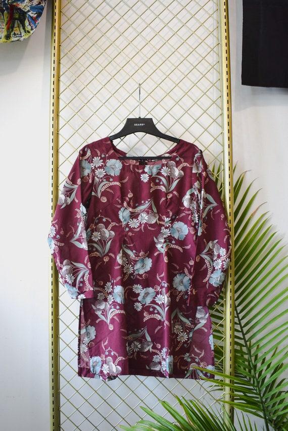 Vintage 70's Boho Floral Mini Dress Long top Handm