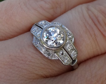Art Deco Platinum and Diamond Engagment Ring, 1.17 TCW, Appraisal included!