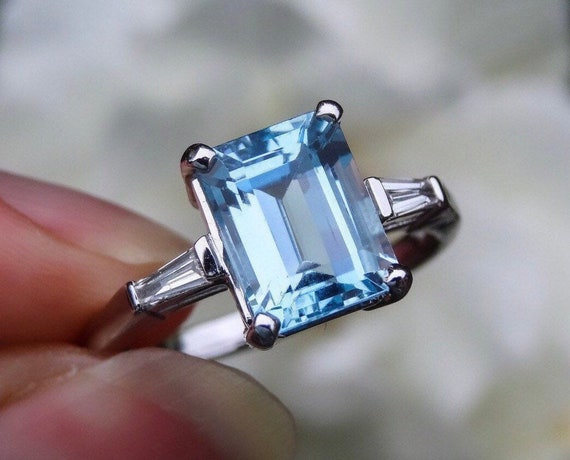 Aquamarine & Baguette Engagement Ring.