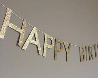 GOLD GLITTER Happy Birthday Banner