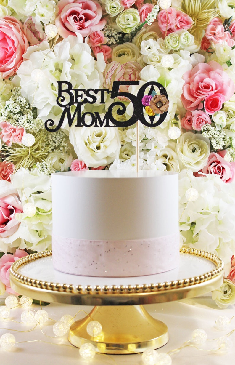 BEST MOMCustomized Age With Roses Cake Topper 3090 Years Old
