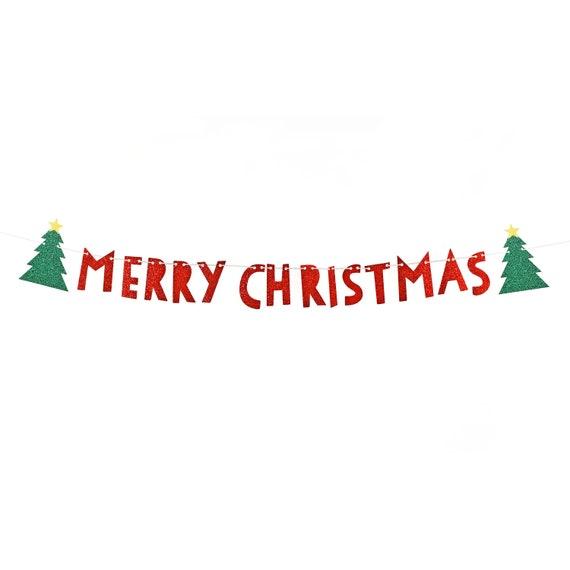 merry christmas banner merry christmas garland christmas tree etsy etsy