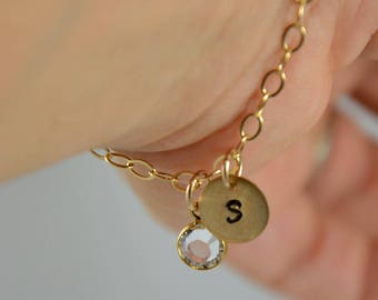 Personalized Jewelry - Gold Bracelet - Sterling Silver Bracelet - Hand Stamped Initial Charm - Birthstone Charm
