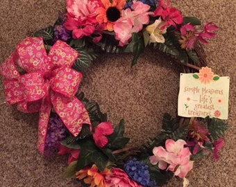 Spring Grapevine Flowered Wreath