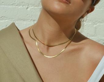 Charm Snake Chain Choker Necklace Stainless Steel Flat Herringbone Chokers Link