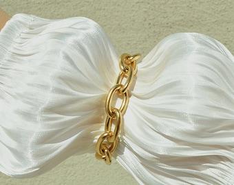 18K Gold Plated Chunky Statement Bracelet, Layering Gold Chain Bracelet, Water Safe
