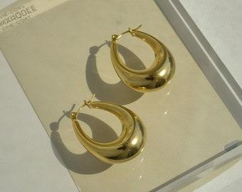 Gold Oval Earrings, Oval Gold Hoops, Half Moon Earrings,Chubby Hoop Earrings, Geometric Earrings, Gold Hoop Earrings, Vintage Gold Earrings,