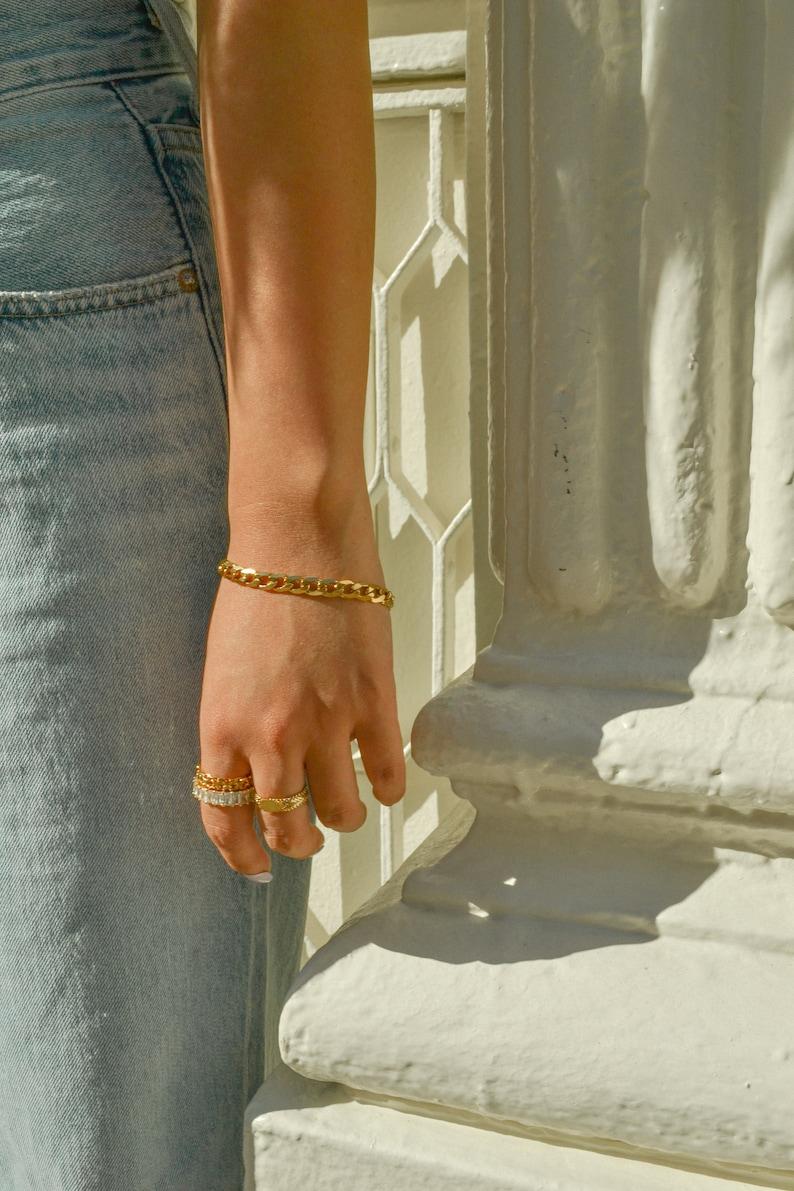 Gold Curb Link Chain Bracelet Link Chain Bracelet Layering Bracelet Gold Chain Bracelet Flat Cuban Link Chain Bracelet