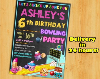 SHOPKINS BOWLING PARTY- Shopkins Invitation,Shopkins Birthday,Shopkins Party.Shopkins chalkboard invitation.Shopkins summer.Shopkins bowling