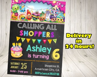 Shopkins Invitation, Shopkins Birthday Invitation, Shopkins Party Printables.Shopkins blackboard invitation. Shopkins chalkboard. Shopkins