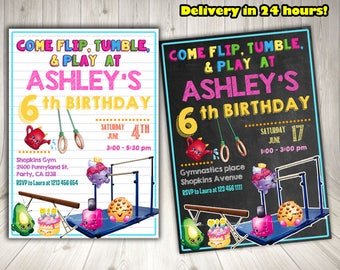 Shopkins gymnastics Invitation, Shopkins Birthday Invitation, Shopkins Party Printables.Shopkins blackboard invitation. Shopkins chalkboard