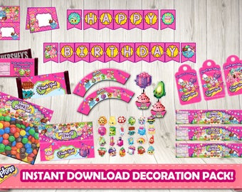 SHOPKINS PACKAGE - Shopkins birthday package.Shopkins birthday party.Shopkins printable decoration. Shopkins bundle.Shopkins party package