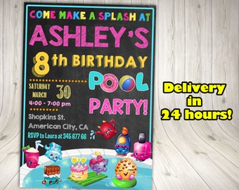 SHOPKINS POOL PARTY- Shopkins Invitation, Shopkins Birthday,Shopkins Party.Shopkins chalkboard invitation. Shopkins summer.Shopkins pool