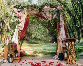 Wedding arch decor etsy more colors dusty rose and burgundy wedding arch junglespirit Choice Image