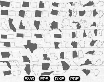 United States SVG, USA State SVG Vector, 45 States Clipart, cricut, silhouette cut files commercial use