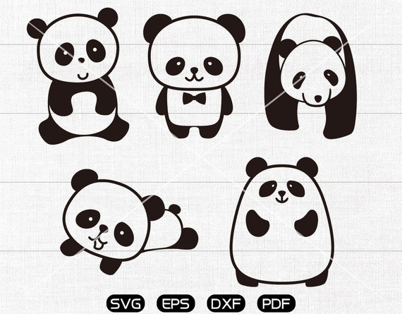cartoon Panda SVG Panda Clipart cricut silhouette cut files commercial use