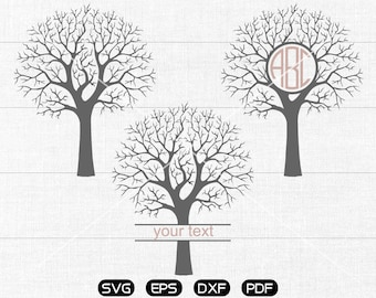 Tree Svg, Tree Clipart, Monogram Frame cricut, cameo, silhouette cut files commercial & personal use