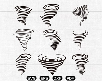 Tornado SVG, Hurricane svg, Typhoon svg, Storm Clipart, cricut, silhouette cut files commercial use