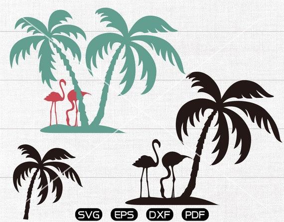 Palm Tree Svg Flamingo Clipart Cricut Silhouette Cut Files Etsy