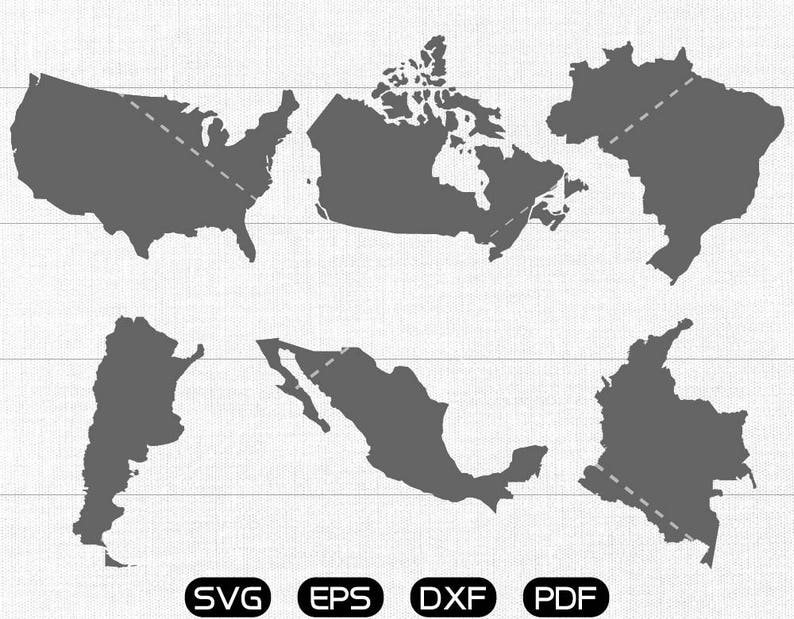Usa Map Clipart Canada Brazil Argentina Mexico Colombia Etsy