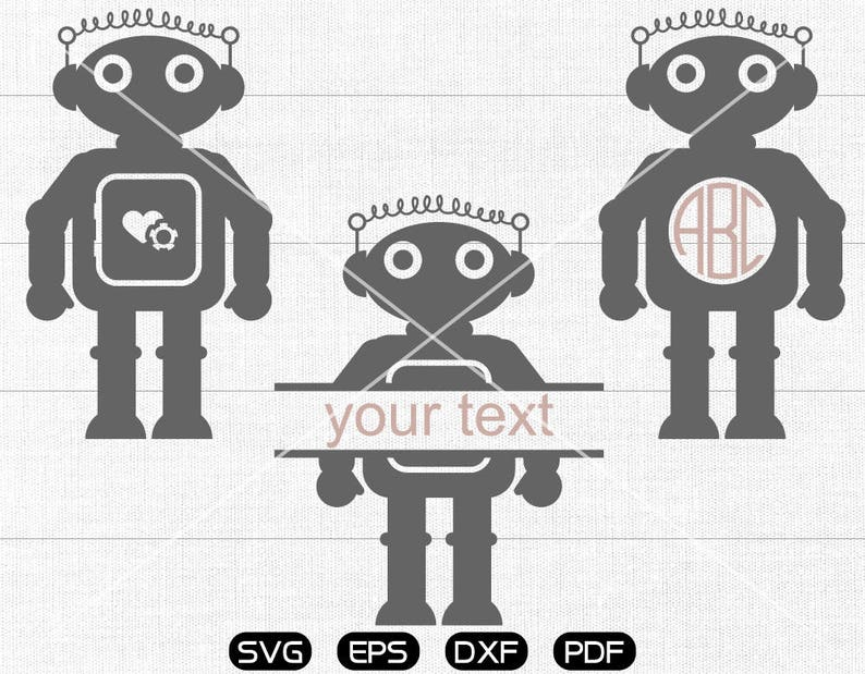 cameo Monogram Frame cricut Robot Svg silhouette cut files commercial /& personal use Robot Clipart